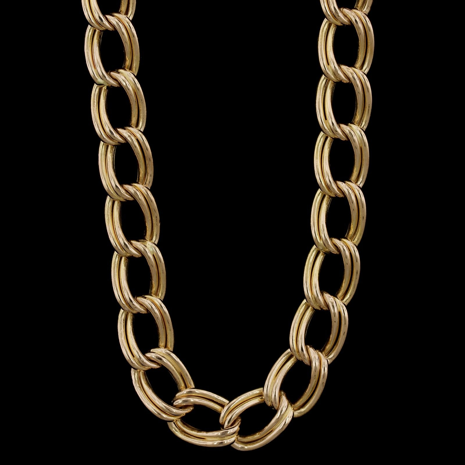14K Yellow Gold Estate Double Link Necklace