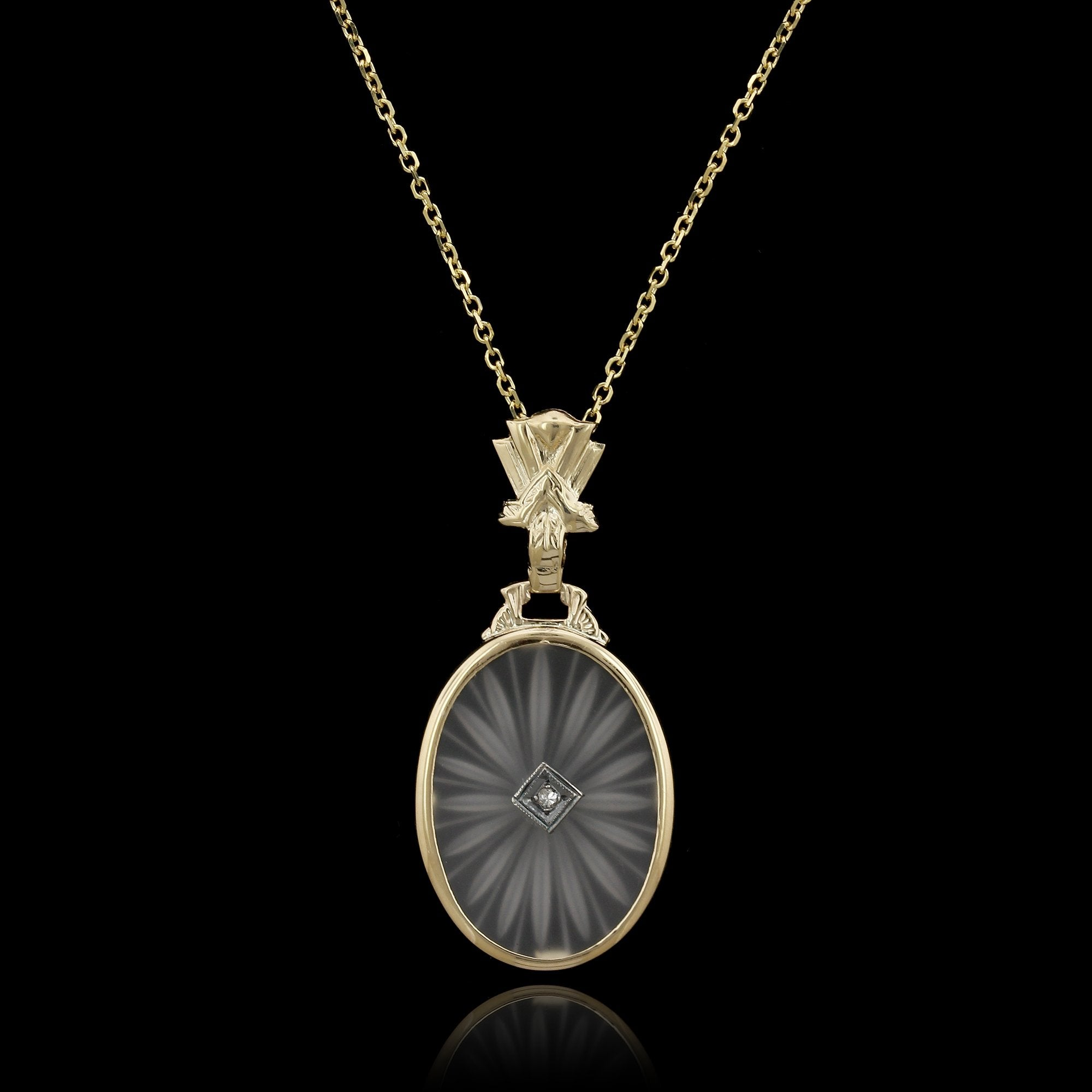 Vintage 14K Yellow Gold Estate Carved Crystal and Diamond Pendant