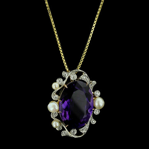 Vintage Platinum and 18K Yellow Gold Amethyst, Diamond and Pearl Pendant