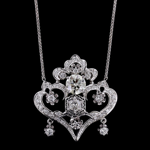 Vintage 14K White Gold Diamond Pendant
