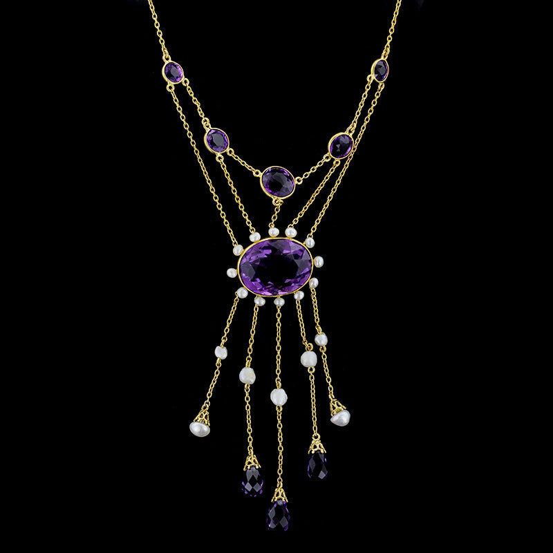 Antique 14K Yellow Gold Amethyst and Pearl Festoon Necklace