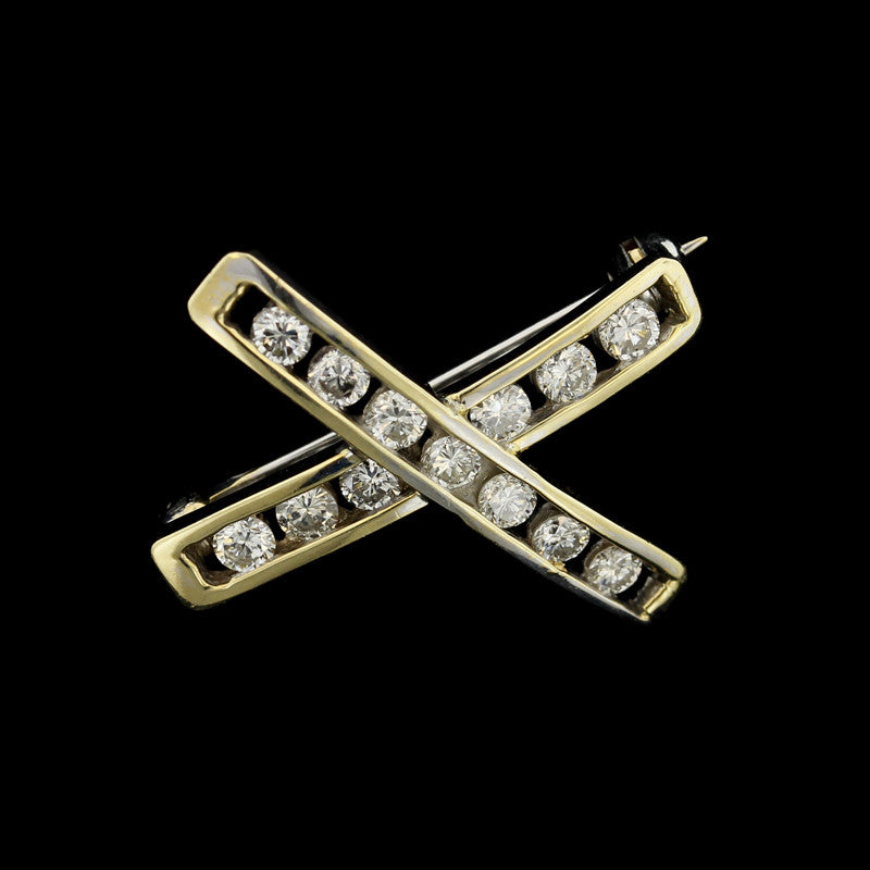 14K Yellow Gold Diamond 'X' Pin