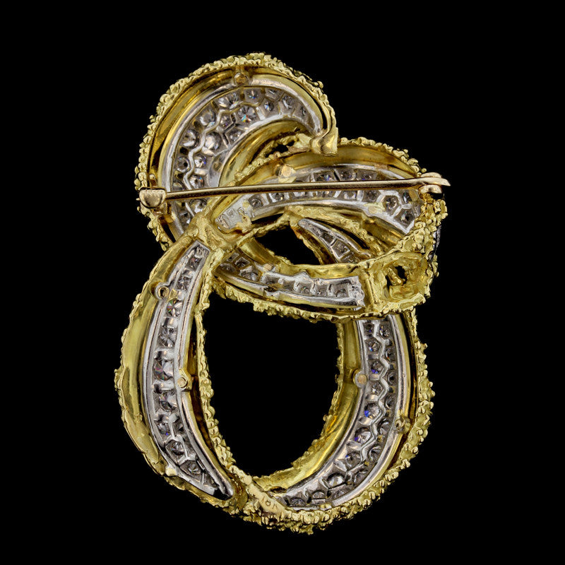 Platinum and 18K Yellow Gold Diamond Knot Pin