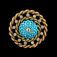 14K Yellow Gold and Sterling Silver Turquoise and Diamond Pin