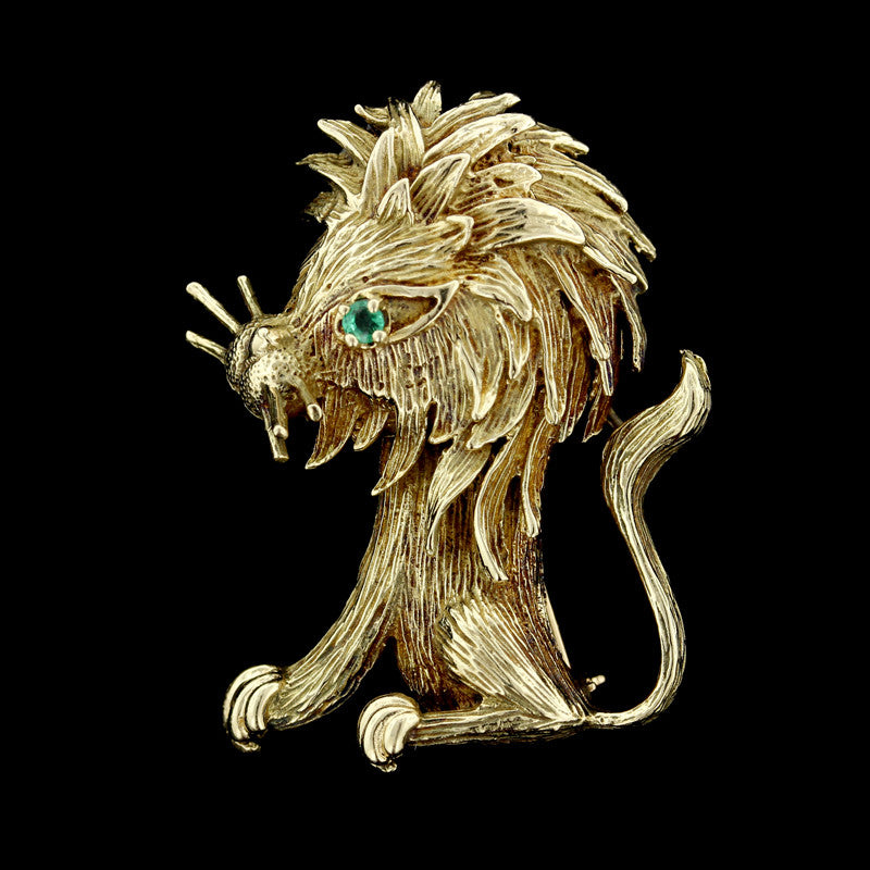 14K Yellow Gold and Emerald Lion Pin
