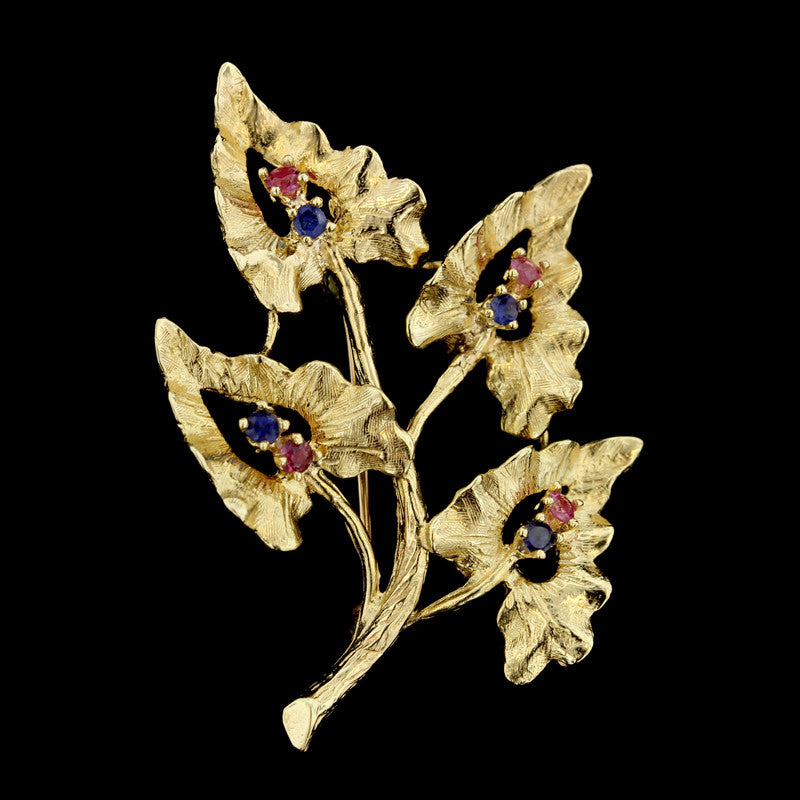 14K Yellow Gold Ruby and Sapphire Leaf Pin
