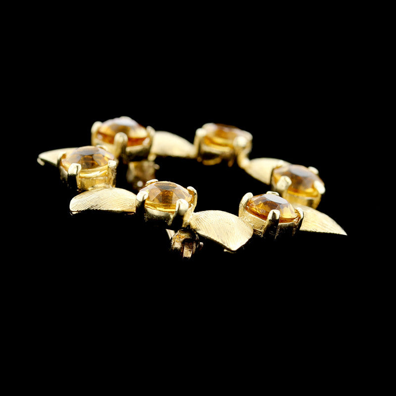 14K Yellow Gold Citrine Circle Pin