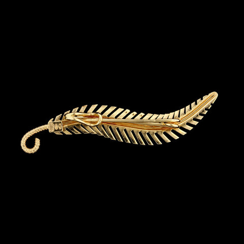 18K Yellow Gold Feather Pin