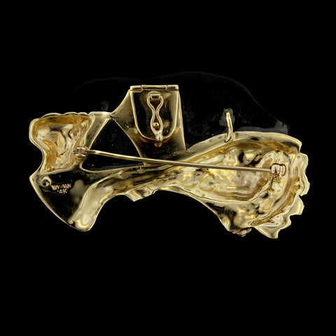 14K Yellow Gold Onyx Dolphins Pin