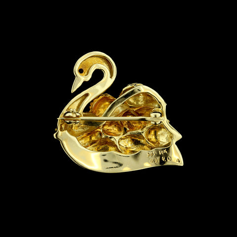 18K Yellow Gold Sapphire Accent Swan Pin