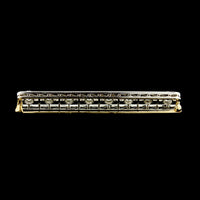 Platinum and 14K Yellow Gold Diamond Bar Pin