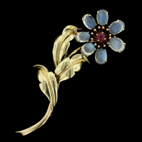 14K Yellow Gold Moonstone Flower Pin