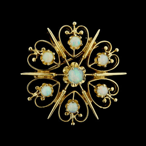 14K Yellow Gold Opal Cluster Pin