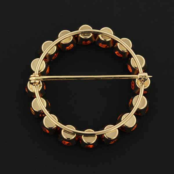 Krementz 14K Yellow Gold Estate Citrine Circle Pin