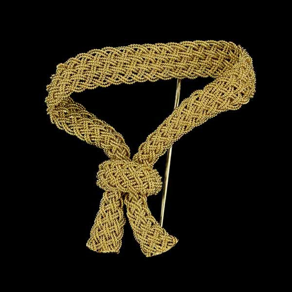18K Yellow Gold Braided Ribbon Pin/Brooch