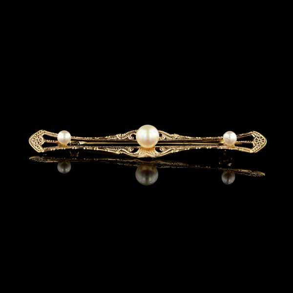 Vintage 14K Yellow Gold Cultured Pearl Pin