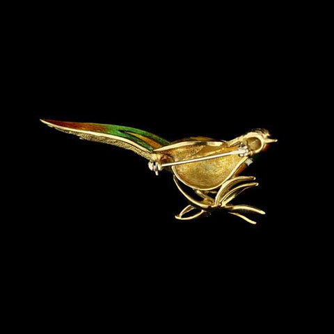 18K Yellow Gold Enamel Pheasant Pin