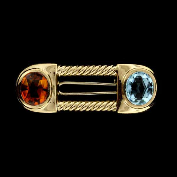 18K Yellow Gold Citrine and Blue Topaz Pin