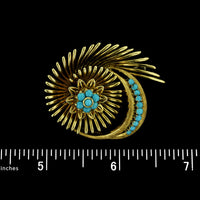 18K Yellow Gold and Turquoise Swirl Pin