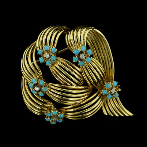 18K Yellow Gold Turquoise and Diamond Pin