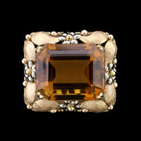14K Two-Tone Gold Estate Citrine Pin