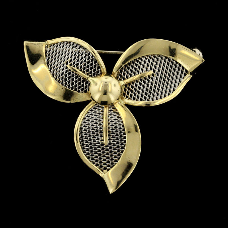 18K Yellow Gold and Platinun Flower Pin