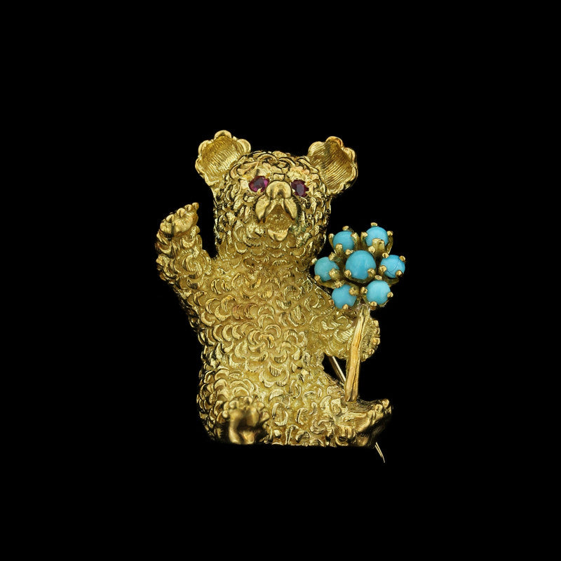 18K Yellow Gold Turquoise and Ruby Teddy Bear Pin