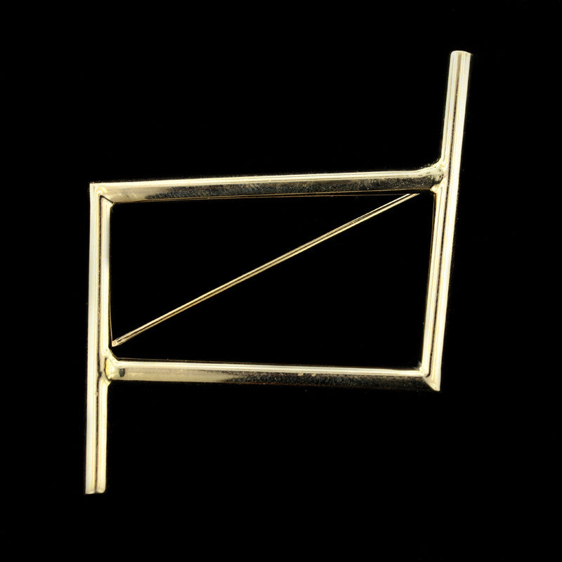14K Yellow Gold Geometric Pin