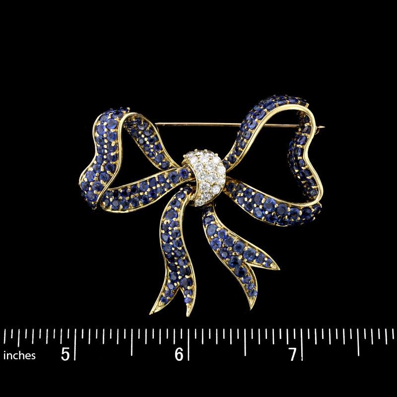 18K Yellow Gold Sapphire and Diamond Bow Pin