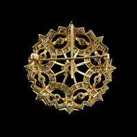 K. Goldschmidt Antique Style 14K Yellow Gold Diamond Circle Pin
