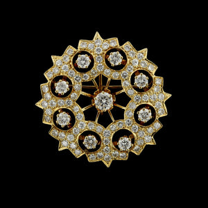K. Goldschmidt Antique Style 14K Yellow Gold Diamond Circle Pin.