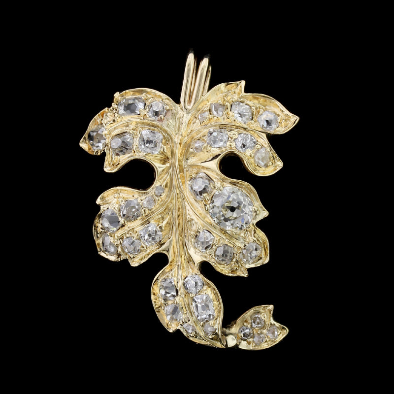 18K Yellow Gold Diamond Leaf Pin