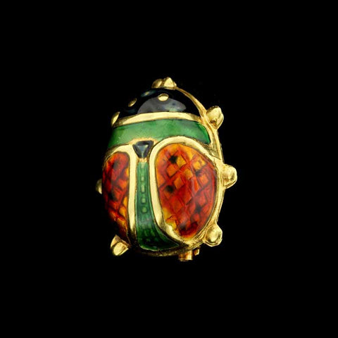 18K Yellow Gold Enamel Lady Bug Pin
