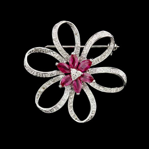 14K White Gold Ruby and Diamond Pin