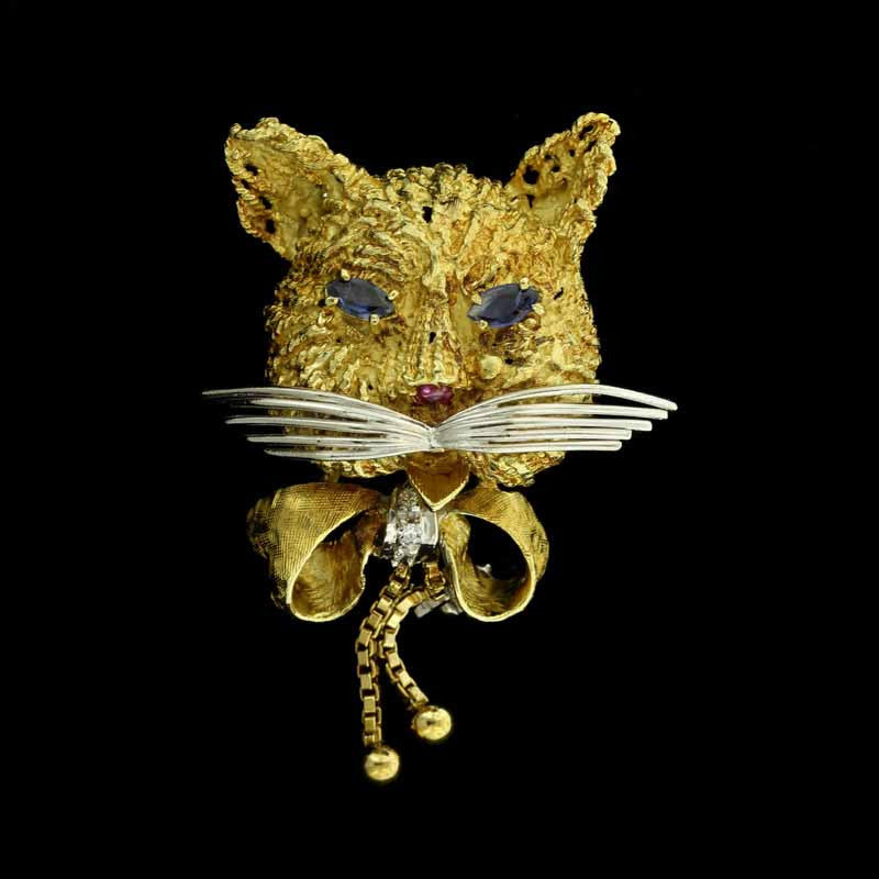 18K Yellow Gold Gem-set Cat Pin