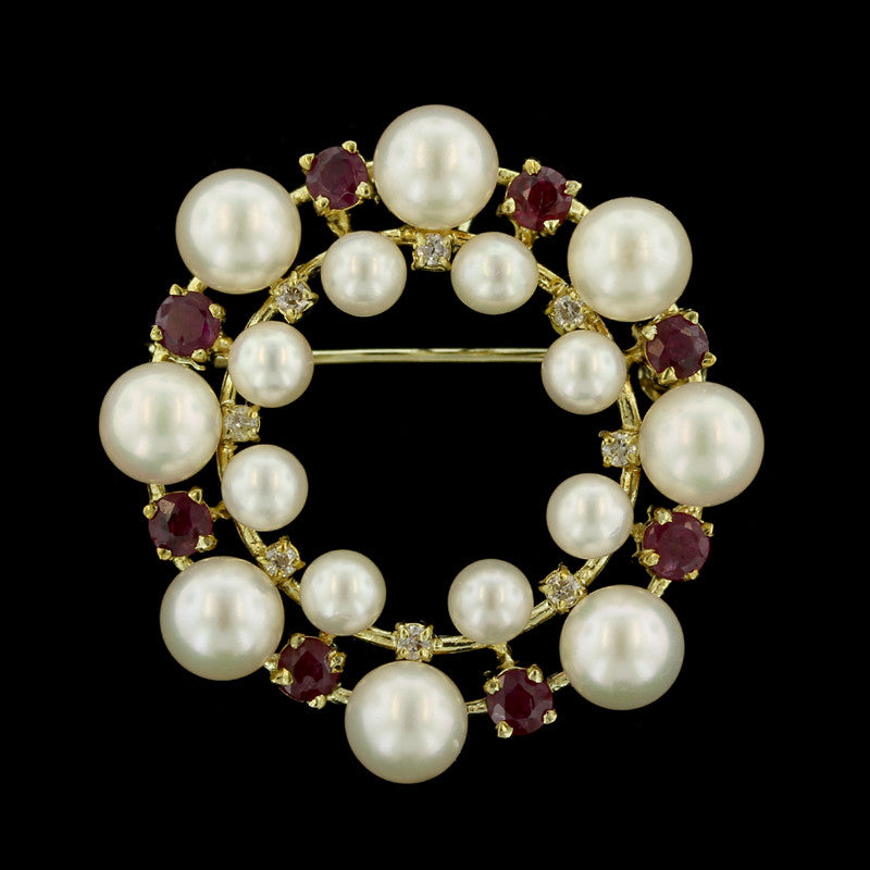 14K Yellow Gold Ruby, Diamond and Pearl Circle Pin