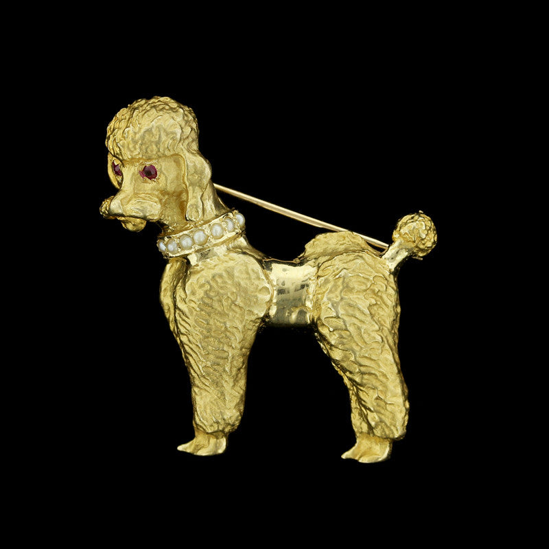 14K Yellow Gold Poodle Pin