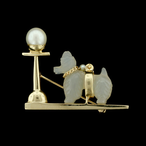 14K Yellow Gold Dog by Lamppost Pin