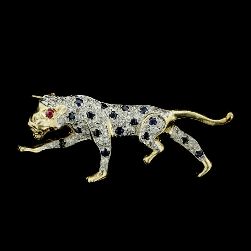 14K Yellow Gold Panther Pin