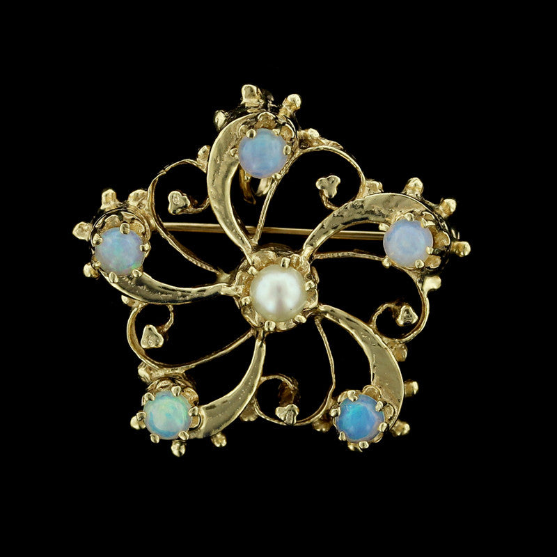 14K Yellow Gold Opal and Pearl Pin/Pendant