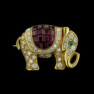 18K Yellow Gold Ruby and Diamond Elephant Pin
