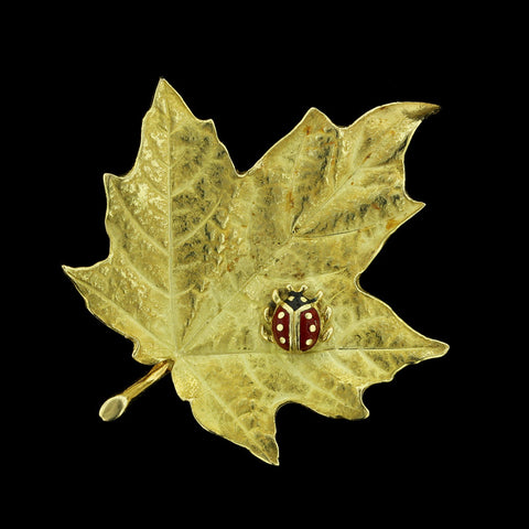 18K Yellow Gold Enamel Lady Bug Leaf Pin