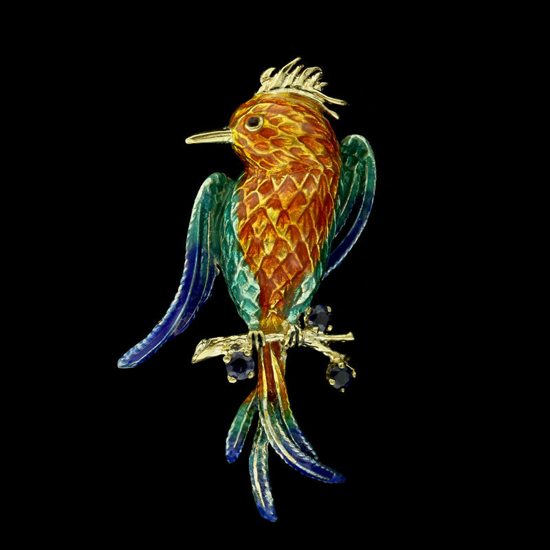 14K Yellow Gold Enamel and Sapphire Bird Pin