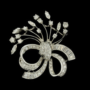 14K White Gold Diamond Spray Pin
