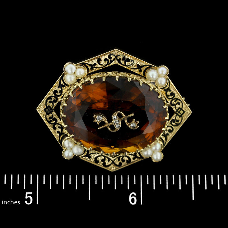 Victorian 14K Yellow Gold Citrine, Cultured Pearl and Diamond Pin