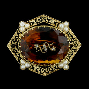 14K Yellow Gold Citrine, Pearl and Diamond Pin