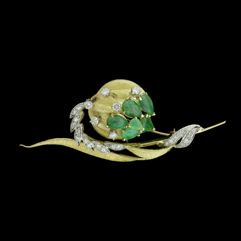 18K Two-Tone Gold Jadeite and Diamond Floral Pin