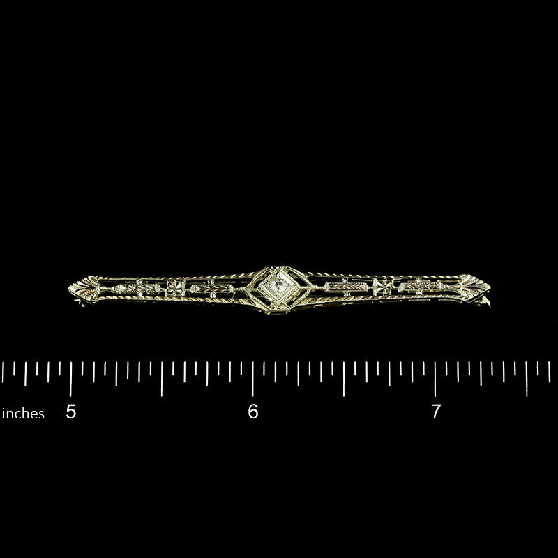 18K White Gold Estate Diamond Bar PIn