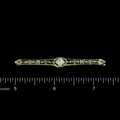 18K White Gold Diamond Bar PIn