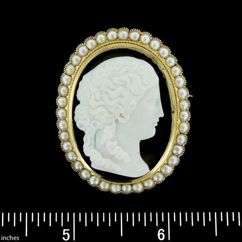 14K Yellow Gold Hardstone Cameo Pin